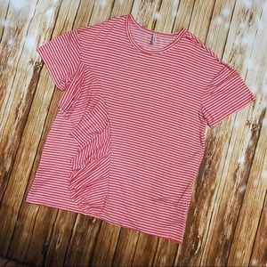 🆕Watermelon Side Pocket Striped Ruffle Blouse